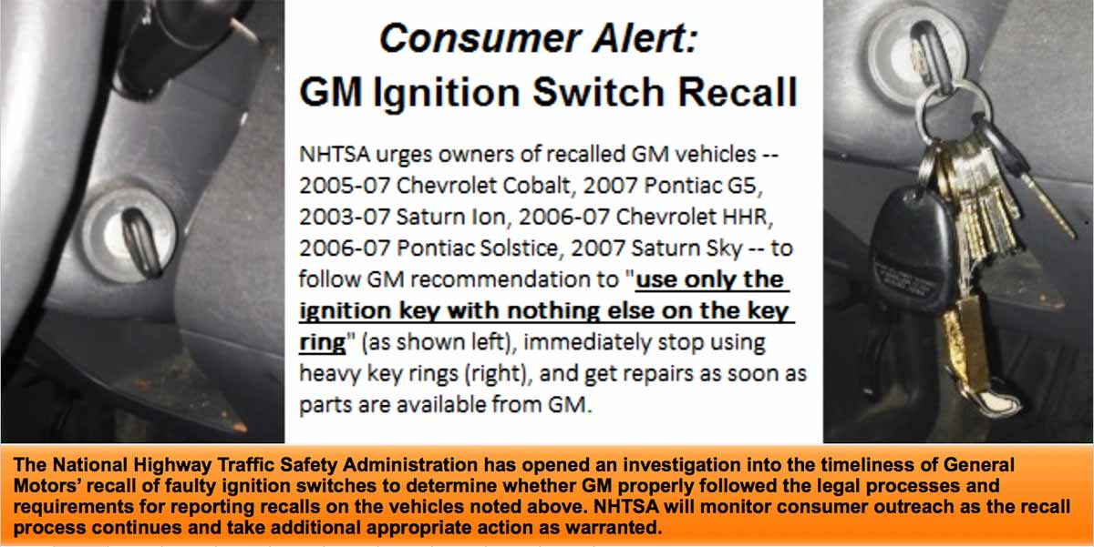 gm ignitions switch recall slide from safer car.gov - use only the ignition key with nothing else on the key ring